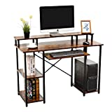 AIKA Computer Desk with Storage Shelves/Keyboard Tray/Monitor Stand Study Table for Home Office Reversible Desk (Industrial/Rustic Brown)