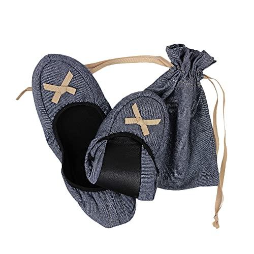 折りたたみスリッパ 携帯スリッパ 室内用スリッパ 室内履き リボン付き かかと付き 収納ポーチ 巾着付き レディース ネイビー