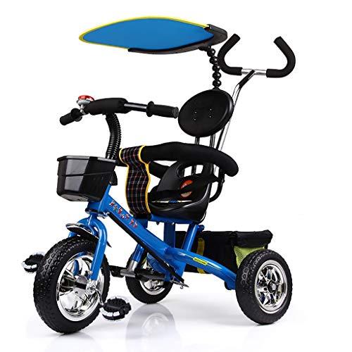 GCXLFJ Triciclo Bebe Triciclo,Rueda De Triciclo for Niños Multiusos del Toldo Libre De Carga,Triciclo Al Aire Libre del Bebé,3 Colores,81 * 56 * 64cm (Color : Blue)