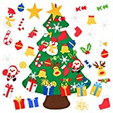 WIKEE DIY Felt Christmas Tree Set for Kids with 30pcs Ornaments, 3.8FT Door Wall Hanging Xmas Gifts for Christmas Decorations Kids New Year
