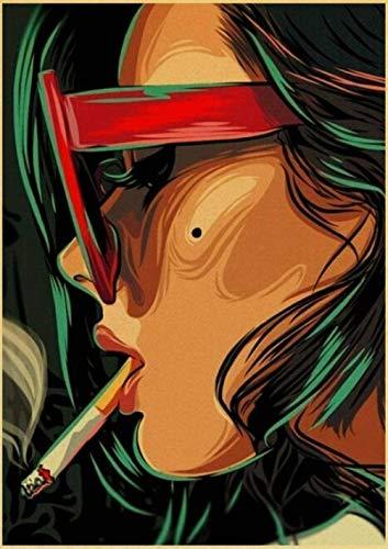 DGSJH Pintura de diamante Taladro completo Arte retro Gafas de sol Chica Bordado de diamantes Punto de cruz Mosaico Kits de retrato Decoración del hogar-Redondo completo 40X50Cm
