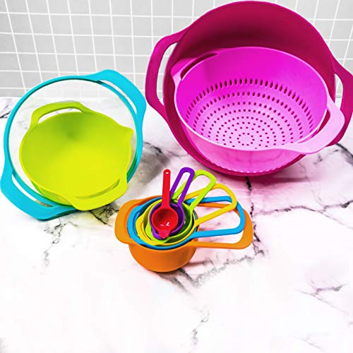 Cheer Collection 15 Piece Nested Bowl Set with Mixing Bowls, Colander, Sifter and Measuring Spoons, BPA-Free Bright Colorful Plastic Space-Saving Food Prep