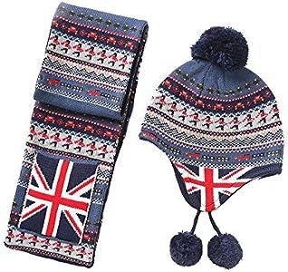 ZHONGXIN Conjunto de bufanda de gorro de invierno de punto para niños, gorro de invierno para bebé, bufanda de gorro de algodón con pompón de punto unisex para bebés y niñas (Hat XXL/52-54CM+Scarf)