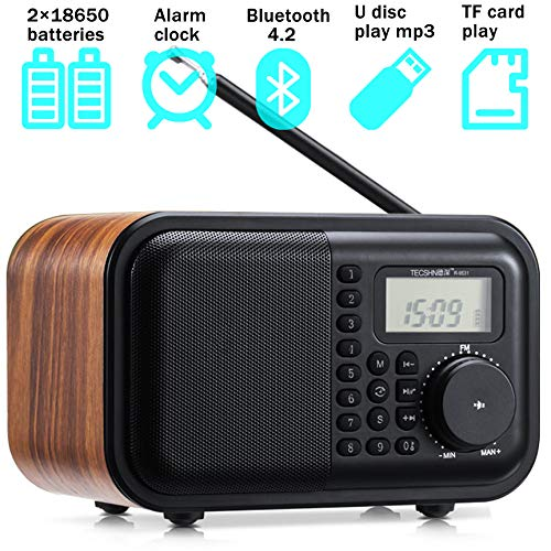 Table Radio FM SW Radio Digital Wooden Radio with Alarm Clock、Rotary Dial、Bluetooth 4.2 Speaker、USB Port、TF Card Slot、Aux-in Jack、2×18650 Batteries