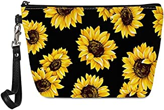 KUIFORTI Vintage Sunflower Print Women Protable Wristlet Cosmetic Pouch PU Leather Waterproof Makeup Clutch Bag