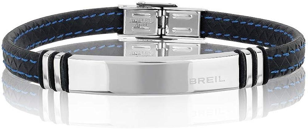Breil, bracciale per uomo savage, con cinturino in acciaio e silicone TJ1974