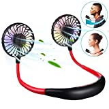 <span class='highlight'><span class='highlight'>SAFETYON</span></span> Portable Fan, Neck Fans Hand Free Mini Fan USB Battery Rechargeable Personal Neck Hanging Fans Small Wearable Sports Fan, 3 Speeds Adjustable for Outdoor Camping Office Home Kitchen (Black)