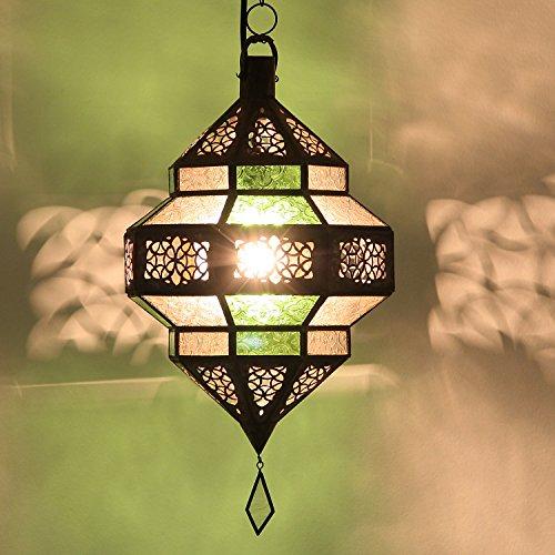 Orientalische Lampe marokkanische Pendelleuchte Maha Grün-Weiss Höhe 45 cm aus Metall & Relief-Glas | Kunsthandwerk aus Marokko wie aus 1001 Nacht | L1206
