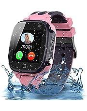 Smooce Kids Smartwatch Telefoon,Waterdicht Kids Smart horloge met LBS Tracker SOS Voice Chat en Camera Game voor 3-12 Jaar Oude Kids Verjaardag