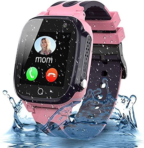 Smooce Smartwatch Niños,Impermeable Reloj Inteligente Niño - LBS Localizador Reloj del Teléfono, Kids Smartwatch Phone con Call SOS Cámara para Niño Niña Cumpleaños (Rosa)