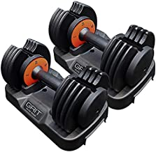 Grit Adjustable Dumbbells (Pair) 5-25 LBS (2.2-11.3 KG) Workout Exercise, Strength Training and Core Fitness at Home Gym for Men and Women - Easy Removable Plates on Tray (2 pcs)