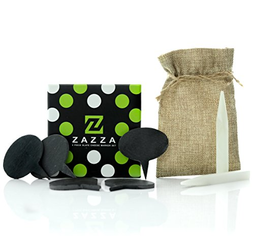 Zazza Cheese Markers Set Made of Natural Slate -5 Cheese Labels Perfect for Charcuterie Boards 2 Soapstone Chalks with Bag and Designer Gift Box