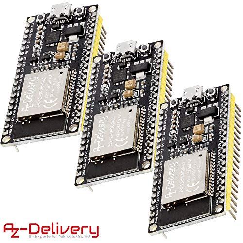 AZDelivery 3 x ESP32 NodeMCU Module WLAN WiFi Development Board mit CP2102 (Nachfolgermodell zum ESP8266) und gratis eBook!