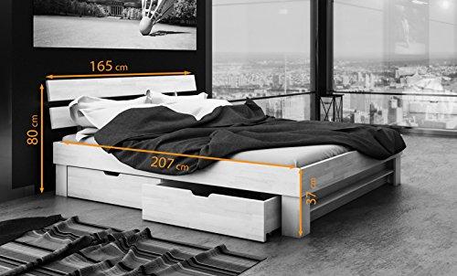 SAM® Massiv-Holzbett Julia mit Bettkästen in Buche weiß, 160 x 200 cm, Bett mit geteiltem Kopfteil, natürliche Maserung, massive widerstandsfähige Oberfläche in edlem Weißton - 5
