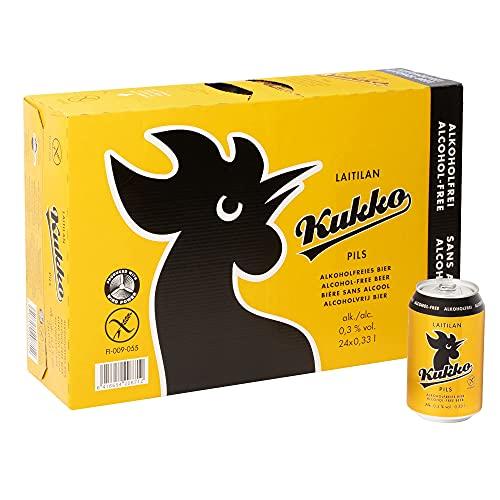 KUKKO PILS Alkoholfrei (24 X 0,33 L Dose) EINWEG | Finnisches Bier im tragbaren Party-Pack (0,3% vol.) | Glutenfrei mit Gerstenmalz | Preis inkl. Pfand