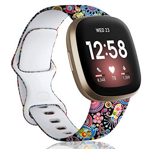 Oielai Cinturino Compatibile con Fitbit Versa 3/Fitbit Sense, Cinturino Sportivo Sostitutivo Silicone Stampato Motivo Floreale Compatibile per Fitbit Versa 3/Sense,Piccolo Fuochi d'artificio