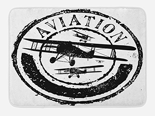 Ambesonne Vintage Airplane Bath Mat, Grunge Style Stamp Design with Word Aviation and Airplane Silhouettes, Plush Bathroom Decor Mat with Non Slip Backing, 29.5