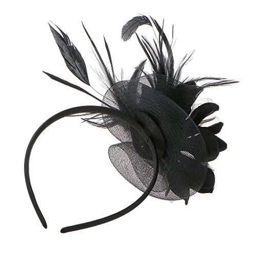 Hochzeit Damen Feder Fascinator Haarreif Blume Schleier Hut Kopfband Haar-Accessoires - Schwarz