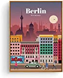 KBIASDPóster de Turismo Vintage Berlín Cityscape Canvas Wall Art Print Poster e imágenes Pintura Colgante para decoración de habitación 40x60cm sin Marco