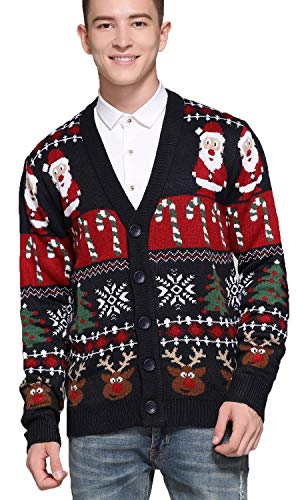 Men's Christmas Rudolph Reindeer Holiday Festive Knitted Sweater Cardigan Cute Ugly Pullover Jumper (Large, Reindeer-Santa&Cane Cardigan)