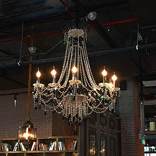 G0000D Chandelier Hanging Light For Dining Room Vintage French Glass Crystal Chandelier Light Fixture Black Cottage American White Suspension Lamp Top Quality & Free Shipping== [10 Lights]