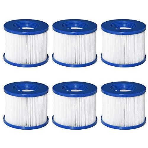 Outsunny Set di 6 Filtri di Ricambio per Piscina Idromassaggio Gonfiabile, in PP e TNT Φ10x8cm Blu e Bianco