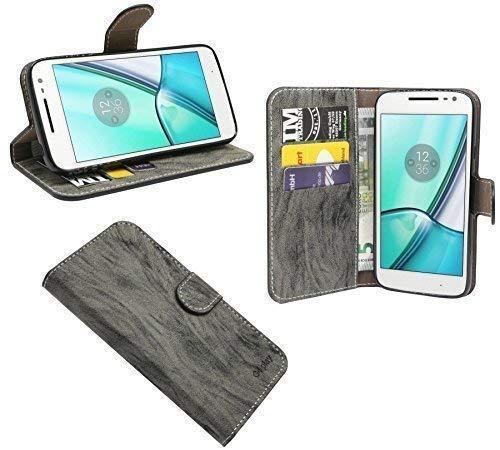 ENERGMiX Buchtasche Hülle Hülle kompatibel mit Lenovo Moto G4 Play Tasche Wallet BookStyle in Anthrazit