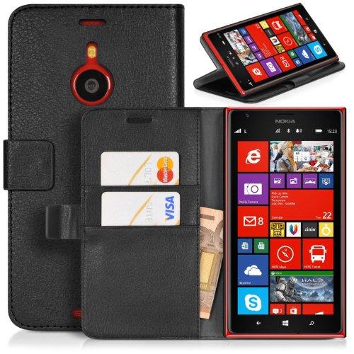 DONZO Tasche Handyhülle Cover Hülle für das Nokia Lumia 1520 in Schwarz Wallet Structure als Etui seitlich aufklappbar im Book-Style mit Kartenfach nutzbar als Geldbörse