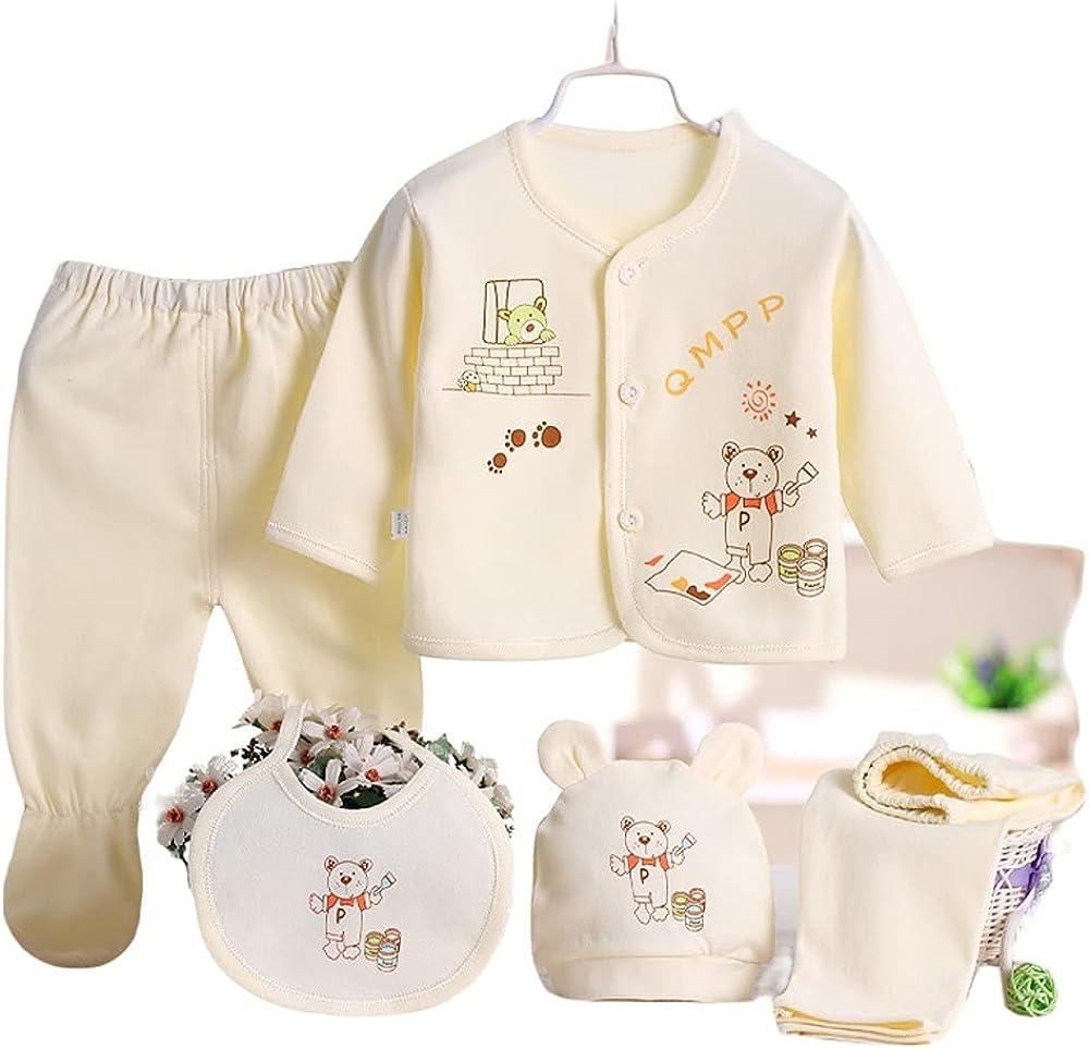 Newborn Boys Girls Baby Cotton Clothes Tops Hat Pants Suit Outfit Sets OneSize 0-3m (5Pces)