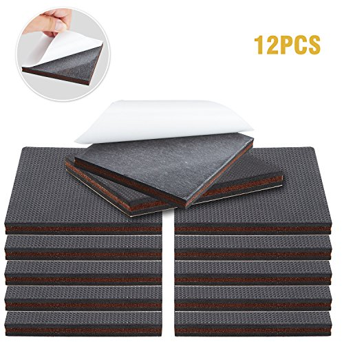 """Non Slip Furniture Pads – Premium 12 pcs 4"""" Furniture Pad! Best Self Adhesive Furniture Grippers Rubber Feet Couch Stoppers – Ideal Furniture Floor Protectors Furniture Feet for Fix Furniture"""