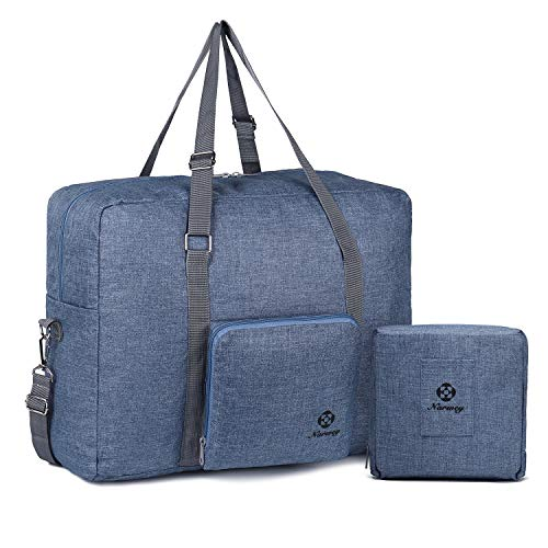 For Spirit Airlines Foldable Travel Duffel Bag Tote Carry on Luggage Sport Gym Duffle for Men and Women (Denim Blue)