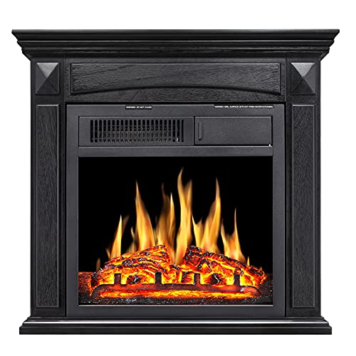 Rintuf Electric Fireplace, 26'' Freestanding Fireplace with Mantel, Stove Fireplace with Overheating Protection, Adjustable LED Flame and Remote Control, 750/1500W Fireplace for up to 435 ft² (Black)