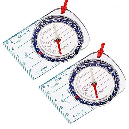 Suithink 2Pcs Portable Compass, Orienteering Compass,Hiking Camping Boating...