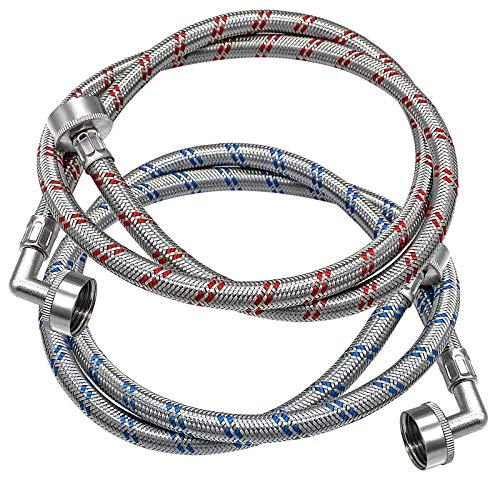 Beaquicy Washing Machine Hoses with 90 Degree Elbows - Stainless Steel Washer Hoses 4 Ft Long Red and Blue (2 Pack) Burst Proof