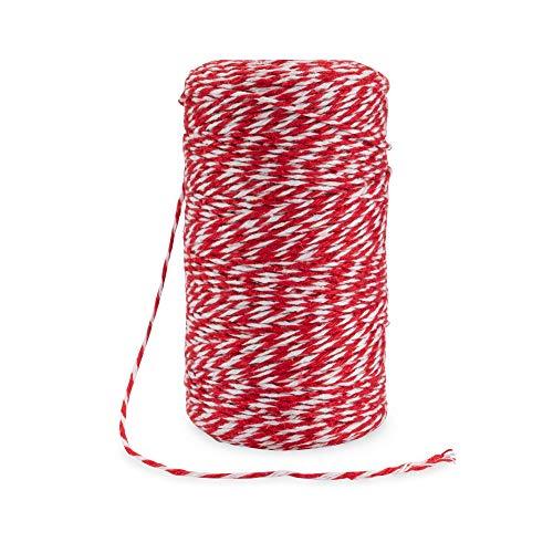 Rietlow Baumwollgarn 200m - Lebensmittelechter Küchengarn - Bindfaden zum Verschnüren, Backen oder auch Grillen - Verbesserte Küchengarn Version 2020 - Weiß/Rot