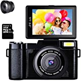 Cámara Digital Videocámara Camara de Fotos Full HD 1080P 24.0MP 2.7K Pantalla Plegable de 3 Pulgadas con Zoom 4X con Linterna retráctil de Regalo (Papel 32G y Lente Gran Angular de 52 mm)