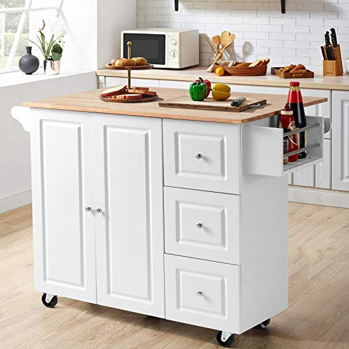 HOMHUM Rolling Kitchen Island Cart with Storage,Kitchen Trolley with Drop-Leaf Rubber Wood Tabletop,Lockable Wheels,Drawers and Cabinets,Towel Rack,Spice Rack for Dining Room White