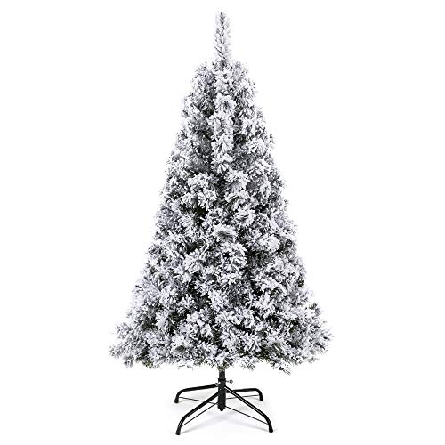 Best Choice Products 6ft Snow Flocked Hinged Artificial Christmas Pine Tree