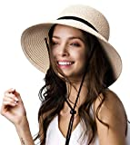 Womens Wide Brim Sun Hat with Wind Lanyard UPF Summer Straw Sun Hats for Women Beige