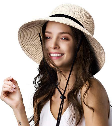 Womens Wide Brim Sun Hat with Wind Lanyard UPF Summer Straw Sun Hats for Women Beige