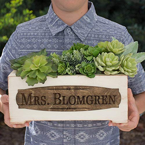 Personalized Vintage Style Planter Box - Teacher Name
