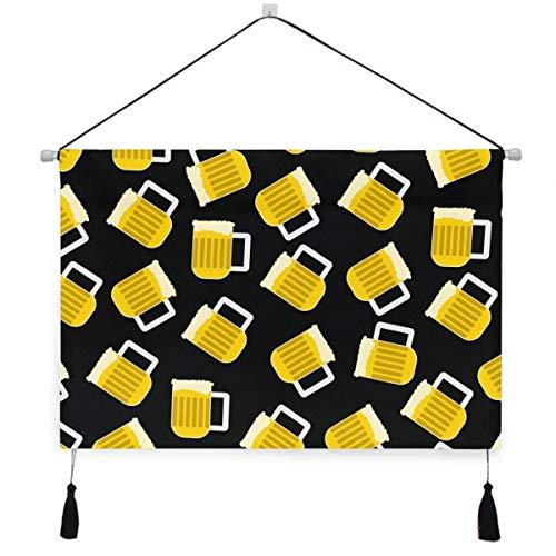 VINISATH Tapiz,Jarra de cerveza de espuma sobre fondo negro perchas decorativas para colgar en la pared,desplazamiento con borlas para la decoración de la oficina del hotel del hogar del dormi
