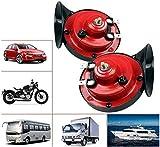 【2 PACK】300db Train Horn for Trucks 12v Double Horn Raging Loud Air Electric Snail Single Horn Waterproof...