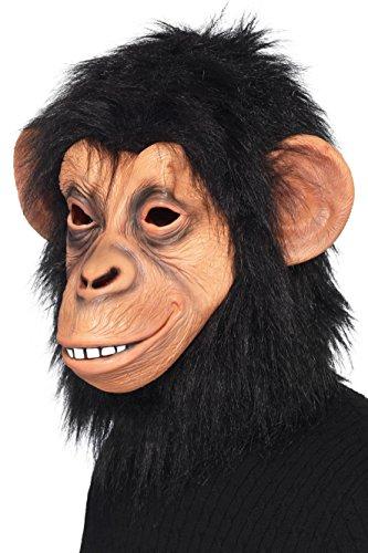 Smiffy's 39507 - Latex Maske Affe - mit schwarzem Kunstpelz - Vollmaske für Party Halloween Flashmob Karneval
