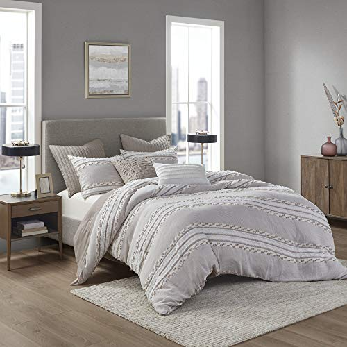 INKIVY 100% Organic Cotton Comforter Set Trendy Stripe Jacquard Design All Season Cozy Bedding with Matching Shams King/Cal King104quotx92quot Lennon Taupe 3 Piece
