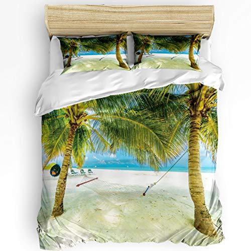 LEO BON Duvet Cover Set Twin Size Zipper Closure 86' x 86' Beach Coconut Tree Hammock 3 Piece Bedding Set Ultra Soft Microfiber Comforter Cover