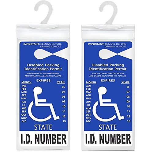 "LotFancy Handicap Placard Holder- 10.6"" x 5"", Ultra Transparent Disabled Parking Placard Protector Hanger Sleeve - Pack of 2, with Plastic Large Hanger"