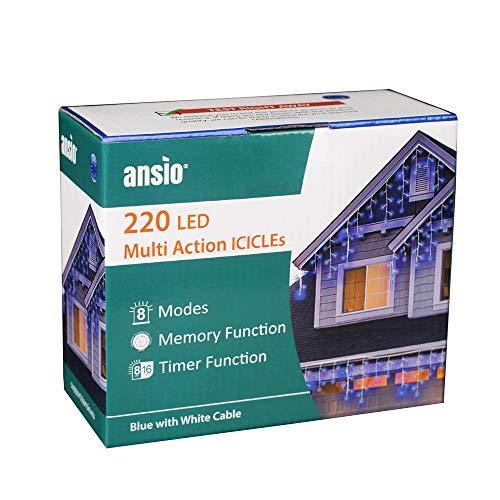 ANSIO 220 LED blu Tenda luminosa Luci natalizie per interni e esterni, Bianco caldo luminose con 8 modalità luce/timer, Memoria, trasformatore incluso, 7,5 m lunghezza-Cavo Bianco