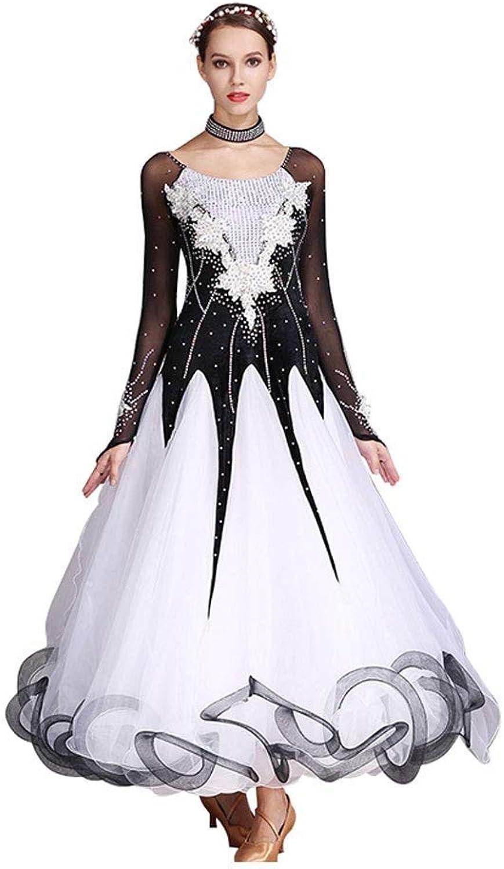 GLJJQMY Modern Dance Dress National Ballroom Costume Diamond Inlaid Dress Dance Dress (color   Black, Size   L)