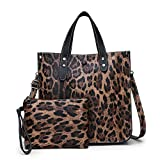 Downupdown 2PCS / Set Mujeres Leopard Animal Print PU Bolso de cuero Lady Hombro Bolsas Tote Purse Messenger Satchel Set (Brown)